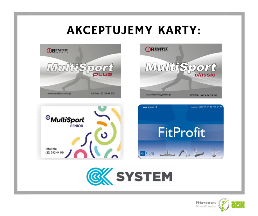 Akceptujemy karty Multisport, OK System, FitProfit